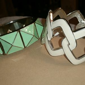 Jewelry - Set of 2 Enameled, Hinged, Magnetic Cuff Bracelets